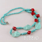 turquoise and red coral necklace with moonlight clasp
