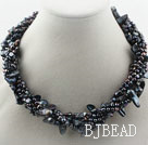Multi Strands Black Freshwater Pearl and Teeth Shape Black Pearl Twisted Necklace