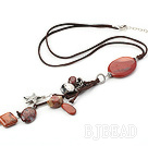 23.6 inches red jasper pendant necklace with extendable chain under $5