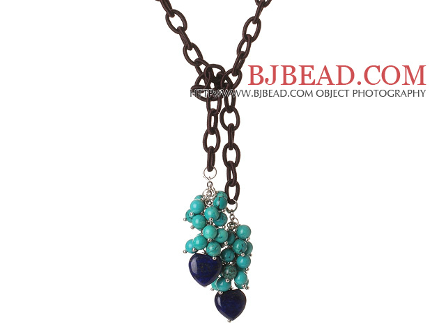 New Long Style Assorted Turquoise Beads and Heart Shape Lapis Necklace with Leather Chain