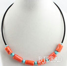 17.7 inches orange coral and turquoise necklace under $5