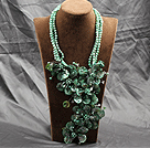 Aamzing Exaggerate Green Freshwater Pearl and Shell Flower Oversized Statement Necklace