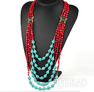 multi strand red coral and turquoise necklace under $ 40