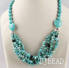 turquoise and crystal necklace with lobster clasp