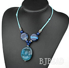 simple and fashion blue agate necklace with round pendant