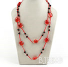 black crystal and red colored glaze neckace