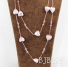 fashion jewelry pink crystal and colored glaze heart necklace with metal chain under $ 40