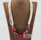 21.7 inches fashion style white pearl turquoise and red coral necklace under $ 40