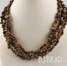 multi strand tiger eye chips necklace with gem clasp under $ 40