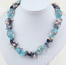 17.5 inches pearl crystal and kyanite and colored glaze necklace with toggle clasp
