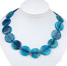 25mm flat round blue agate necklace