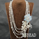 White Series Big Style Multi Strands White Pearl Crystal and Howlite and Shell Flower Party Necklace