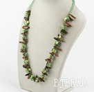 green pearl crystal and gem stone necklace