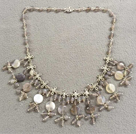 Popular New Design Gray Series Agate Bib Necklace With Small Alloyed Chinese Knot