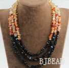 stunning multi strand citrine agate and black stone necklace