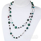 43.3 inches black agate phoenix and garnet necklace