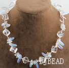 17.7 inches clear crystal and opal necklace