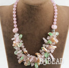 gorgeous Biwa pearl crystal and rose quartze necklace