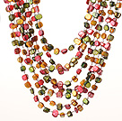 Summer Lovely Multilayer Multi color Shell Necklace With Hollow Ring Closure under $ 40