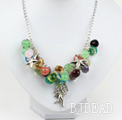 multi color crystal necklace with metal chain