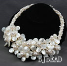 White Series White Freshwater Pearl and White Lip Shell Flower Party Necklace