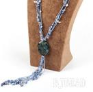 blue gem stone chip agate flower pendant necklace