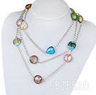 fashion jewelry colorful colored glaze heart necklace with metal chain