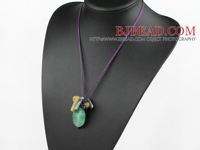 crystal and agate necklace with extendable chain