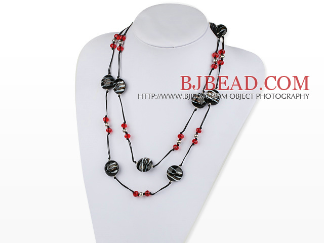 fashion jewelry crystal and colored glaze necklace