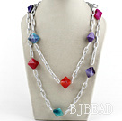colorful Brazil agate necklace with bold chain