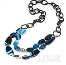 favourite blue agate necklace on big chains
