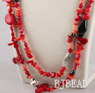 fashion costume jewelry red coral and agate necklace