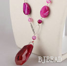 rose color agate necklace with pendant