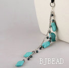 black pearl and turquoise necklace with extendable chain under $ 40