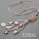 rose quartze and crystal necklace with extendable chain