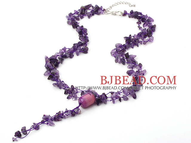 amethyst chip and agate Y necklace with extendable chain