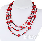fashion costume jewelry red crystal bloodstone red coral necklace