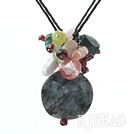 multi color gemstone necklace with extendable chain under $4