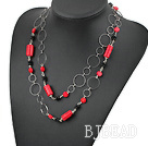fashion long style coral and agate necklace with big metal loops
