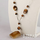 tiger eye and faceted agate necklace