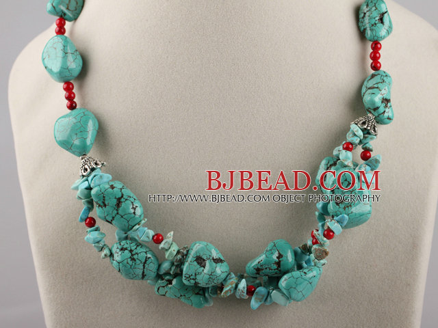 turquoise and bloodstone necklace with moonlight clasp