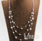 beautiful three strand white pearl and rose quartze necklace
