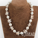 17.7 inches lovely biwa pearl and white sea shell beads necklace