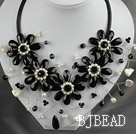 White Freshwater Pearl and Black Crystal Flower Necklace with Leather Cord
