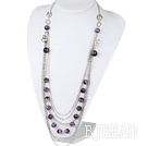 facted amethyst multi layer fashion necklace