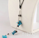 pearl and blue jasper necklace with extendable chain
