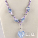 fancy lavender pearl crystal and heart colored glaze necklace