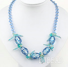 blue crystal and colored glaze neckace with extendable chain