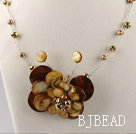 brown butterfly shell pearl necklace with moonlight clasp