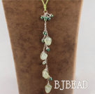 pearl and green grape stone  necklace with extendable chain